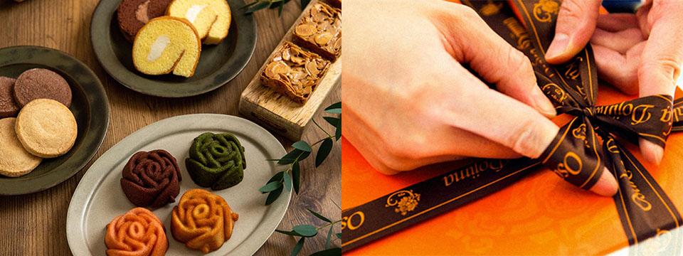 彩り豊かに並んだ焼き菓子と伝統のパッケージ